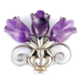 William Spratling Taxco Amethyst Triple Tulip Brooch