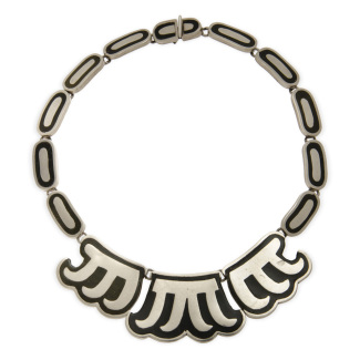 Los Castillo Necklace Sterling Onyx Negro Taxco