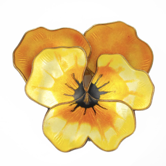 David Andersen Sterling Silver Enamel Pansy Brooch Big