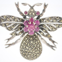 Vintage Sterling Marcasite Ruby Insect