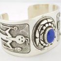 Navajo Sterling Silver Lapis Cuff Bracelet Fred Brown
