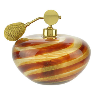 Vintage Murano Glass Striped Swirl Perfume Bottle