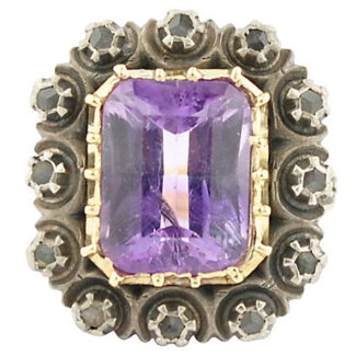 Antique Amethyst & Diamond Gold Ring