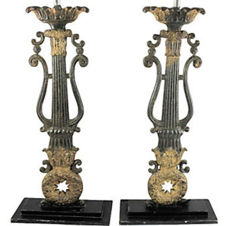 Antique Iron Column Painted Lamp Pair