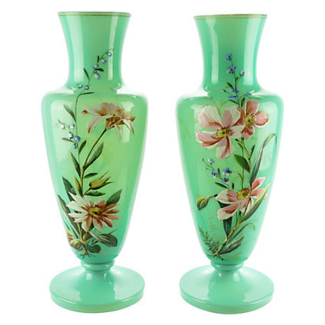 Bristol Glass Blown Vases, Pair 19th-C. Enameled