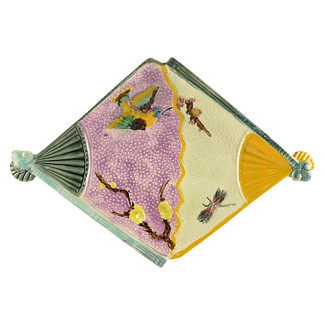 Eureka Trenton Majolica Bird Fan Wall Tray