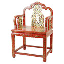 Antique Chinese Carved Red Lacquer Chair