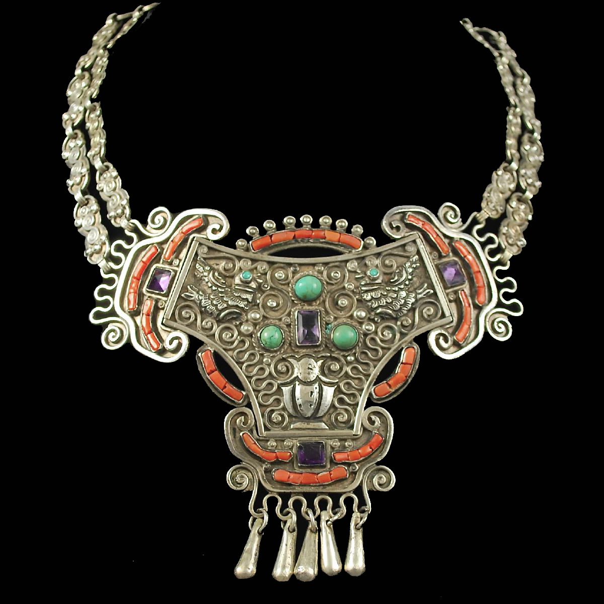 Early Matl Doves Mexican Silver Necklace Hacienda