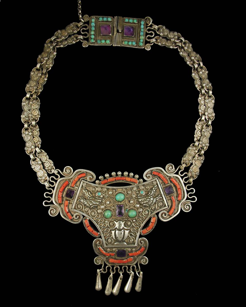 Early Matl Doves Mexican Silver Necklace Hacienda