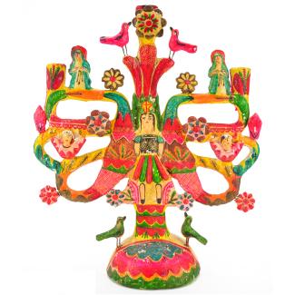 Vintage Mexican Pottery Aurelio Flores Tree Of Life Candelabra