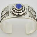 Navajo Sterling Silver Lapis Cuff Bracelet Fred Brown