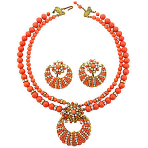 Jonne Schrager Costume Jewelry Necklace & Earring Set