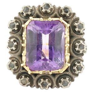 Antique Amethyst & Diamond Gold Ring