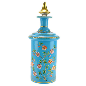Antique Blue Opaline Hand-Painted Perfume Bottle