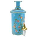 Antique Blue Opaline Hand-Painted Perfume Bottle