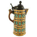 19th Century Wedgwood Majolica Tankard with Pewter Lid