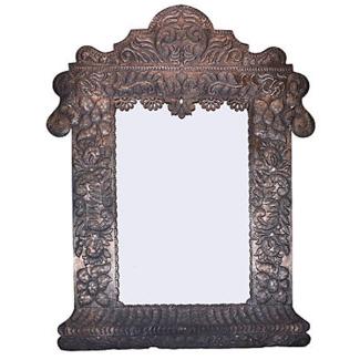 Vintage Mexican Tin Repoussé Mirror Large Size