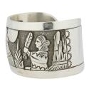 Navajo Sterling Story Telling Cuff Bracelet