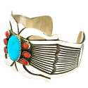 Navajo Sterling Coral Turquoise Cuff Bracelet