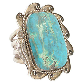Navajo Sterling Silver Huge Turquoise Cuff Bracelet