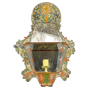Spanish Colonial Hand-Painted Tin Candle Sconce