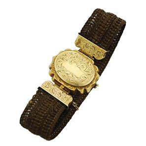 Victorian 14K Gold Hairwork Locket Bracelet