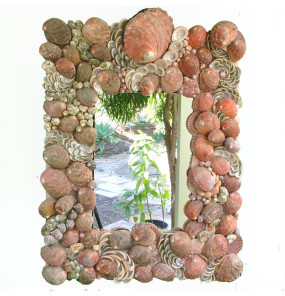 """Red Is Green"" Gorgeous Abalone Sea Shell Framed Mirror"